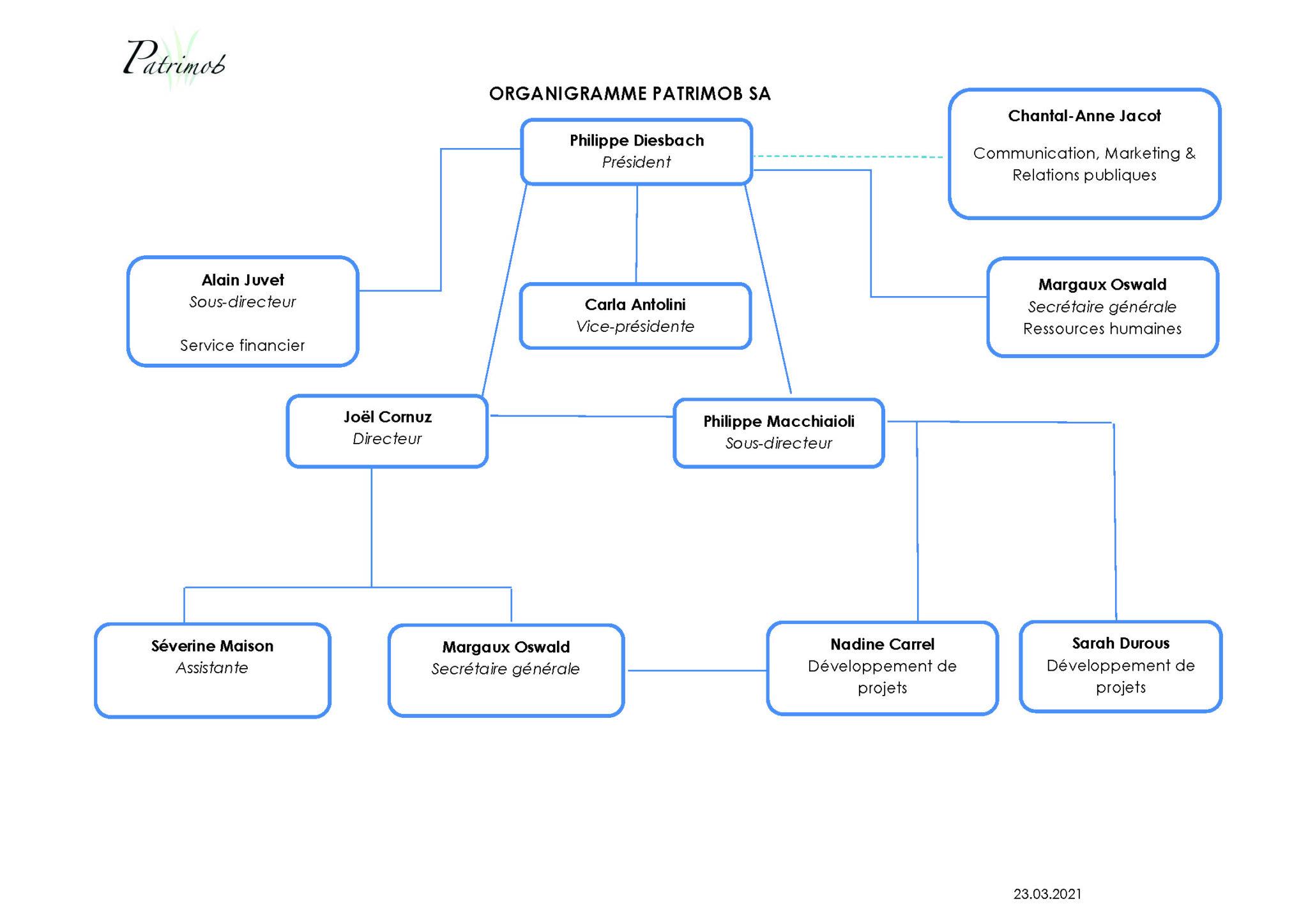 image organigramme de structure Patrimob SA du 23/03/2021